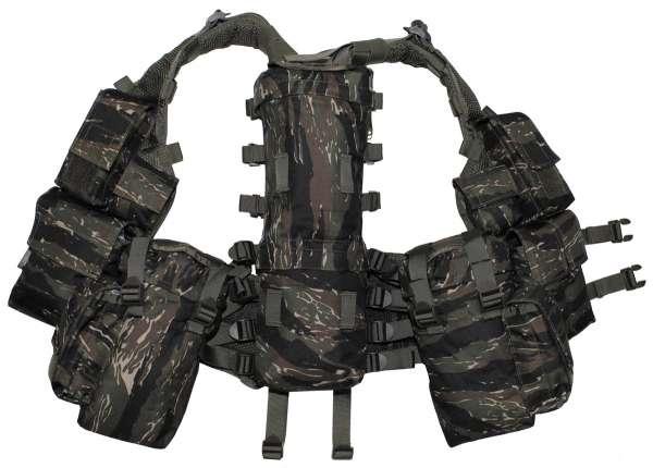 Tactical Weste mit vielen Taschen tiger stripe