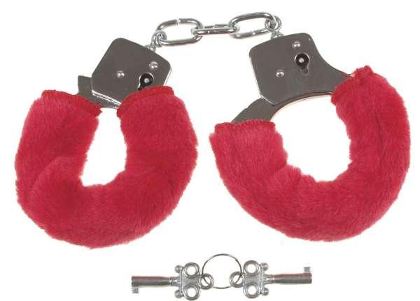 Handschellen mit 2 Schlüsseln chrom Fellüberzug in rot