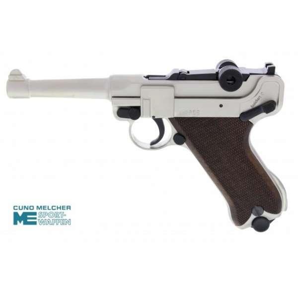 ME P08 Schreckschuss Pistole 9 mm P.A.K. vernickelt