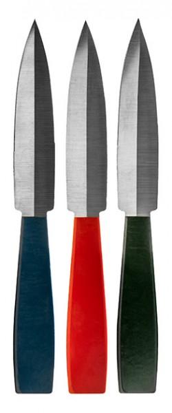 3er Wurfmesser Set rot/grün/blau