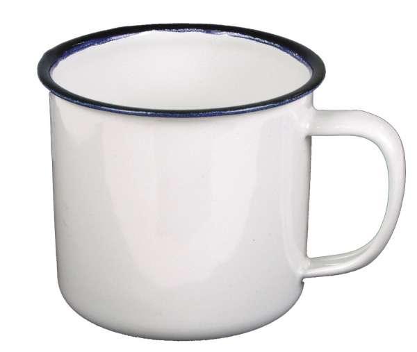 Emaille-Tasse weiß-blau 350 ml