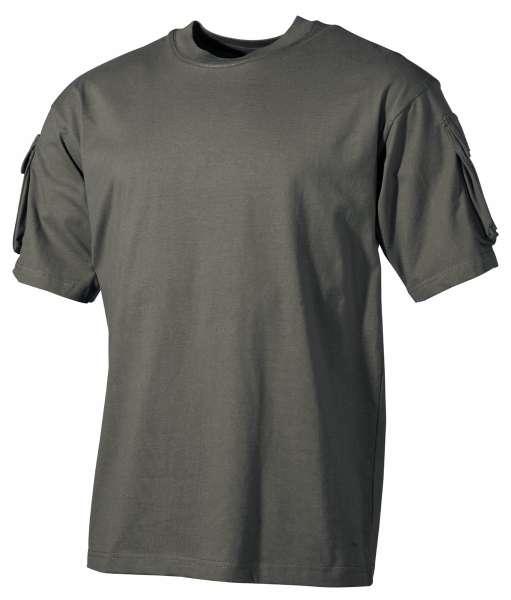 US T-Shirt halbarm oliv mit Ärmeltaschen