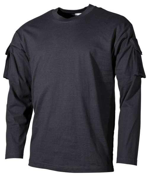 US Shirt langarm schwarz mit Ärmeltaschen