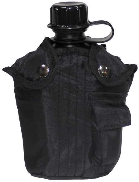 US Plastikfeldflasche 1 l mit Hülle schwarz BPA-frei