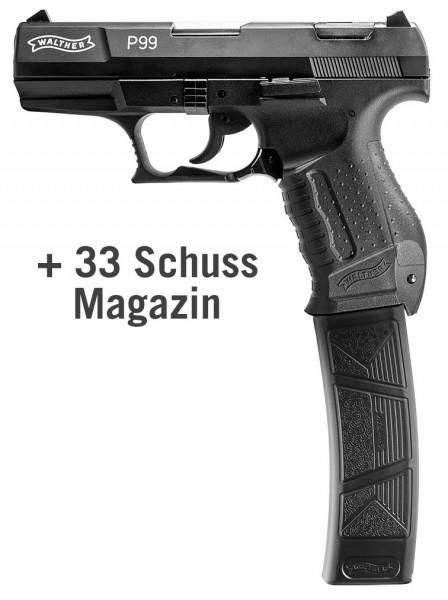 Walther P99 Schreckschuss Pistole 9 mm P.A.K. schwarz inkl. 33 Schuss Magazin