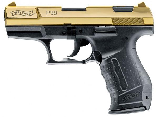 Walther P99 Schreckschuss Pistole 9 mm P.A.K. 24 Karat Gold Finish