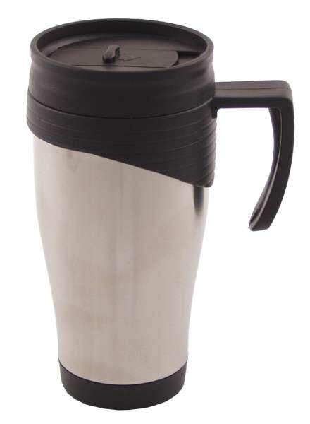 Tasse Edelstahl doppelwandig 400 ml Kunststoffgriff Deckel