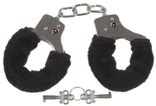 Handschellen mit 2 Schlüsseln chrom Fellüberzug in schwarz
