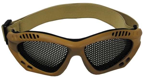 Airsoftbrille beige Metall-Gittereinsatz Deko