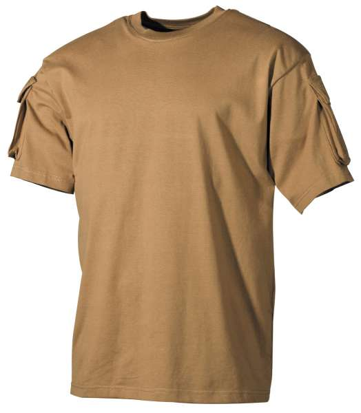 US T-Shirt halbarm coyote mit Ärmeltaschen