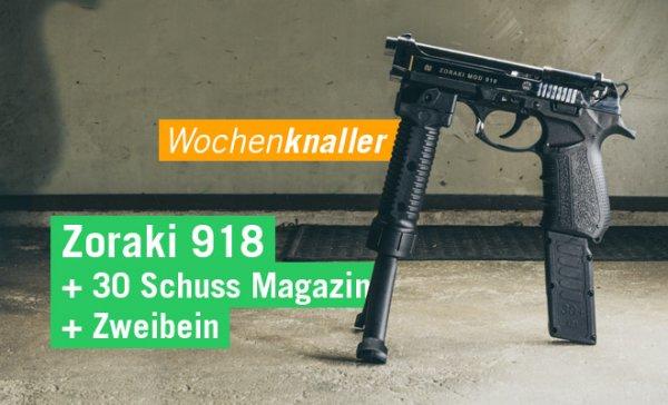 Set Zoraki 918 Schreckschuss Pistole 9 mm P.A.K. chrom + Zweibein + 30 Schuss Magazin