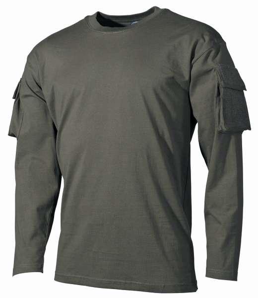 US Shirt langarm oliv mit Ärmeltaschen
