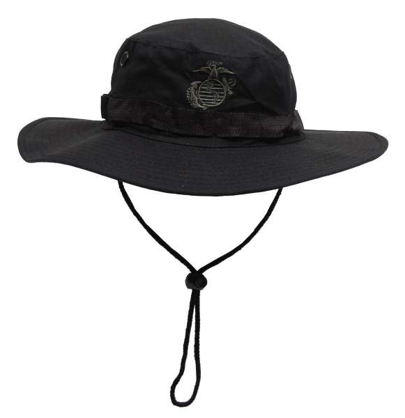 USMC Buschhut mit Kinnband schwarz Boonie Rip Stop