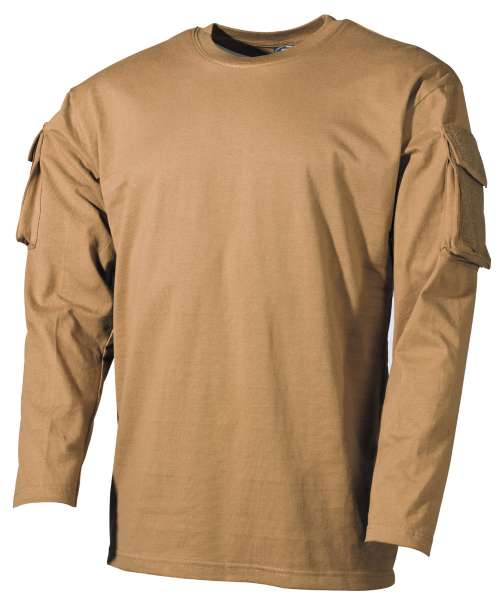 US Shirt langarm coyote mit Ärmeltaschen