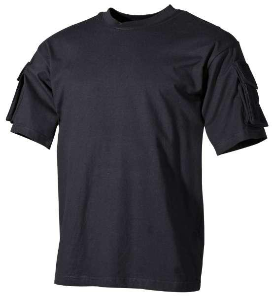 US T-Shirt halbarm schwarz mit Ärmeltaschen